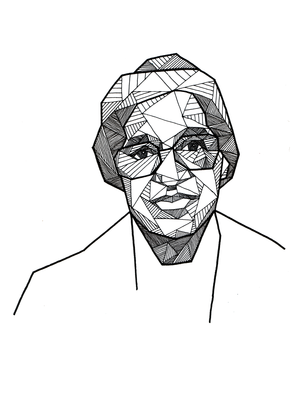 geometric portrait of rosa parks by allison kunath ink on paper rh pinterest com Rosa Parks Black and White Drawings Rosa Parks Coloring Pages
