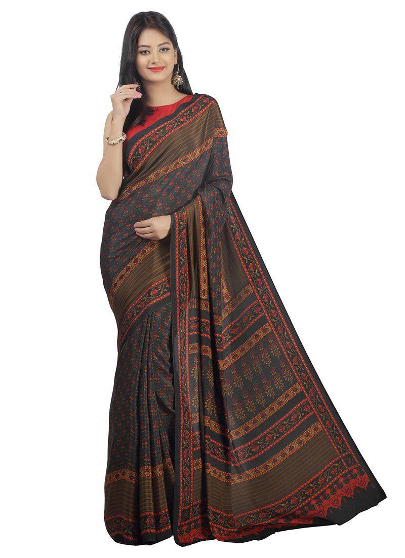 d128497df1 Menlo Park | crepe sarees | Saree, Party wear sarees, Crepe silk sarees