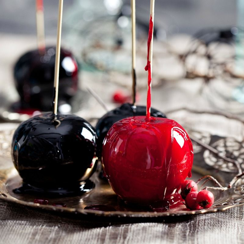 Gothic Black And Red Candy Apples On A Stick Jodeze Home And Garden Recipe Red Candy Candy Apples Delicious Holiday Recipes