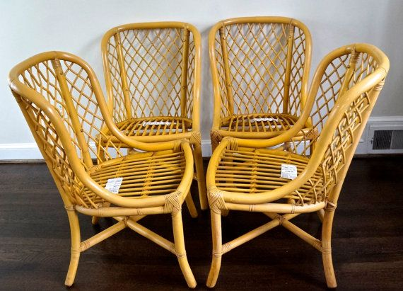 Bamboo Rattan Chairs o n s a l e! set of 4 willow and reed bamboo/rattan chairs