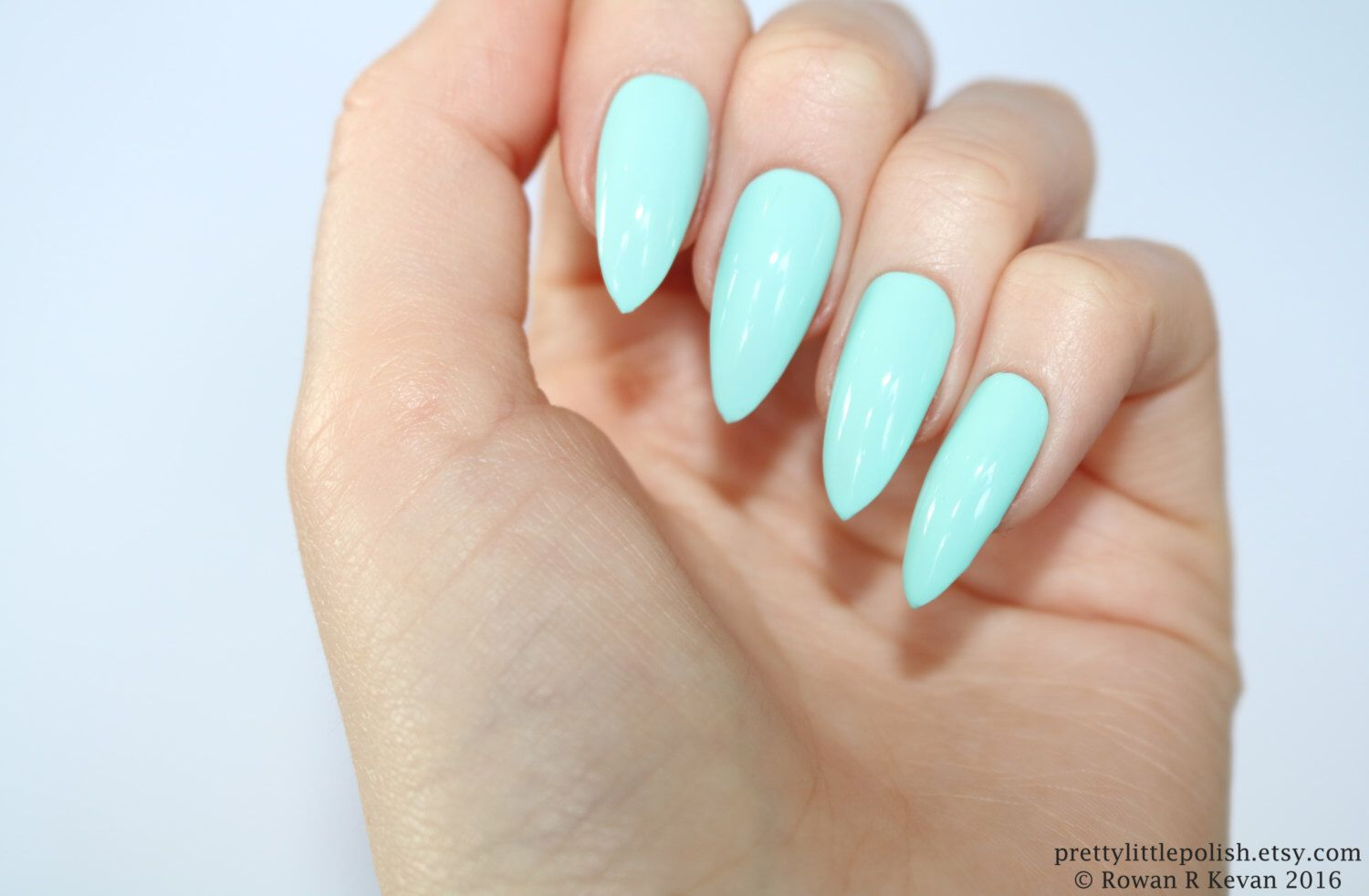 Stiletto nails, Mint stiletto nails, Fake nails, Press on nails ...