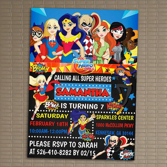 Dc Superhero Girls Invitation You Print Invitation Dc Superhero