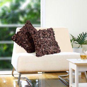 Ruffled brown cushion cover