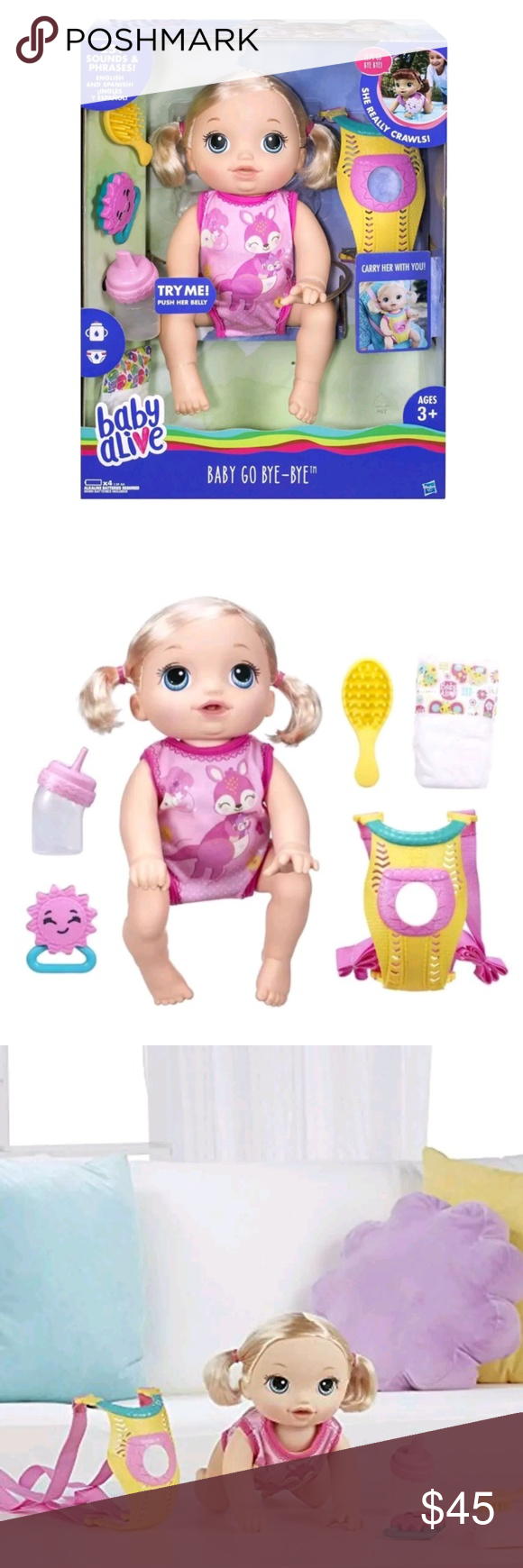Baby Alive Baby Go Bye Bye Brand New And Sealed In The Box Features She Reacts To Her Rattle Tickles And Speech With Sound Baby Alive Bye Bye Baby Baby