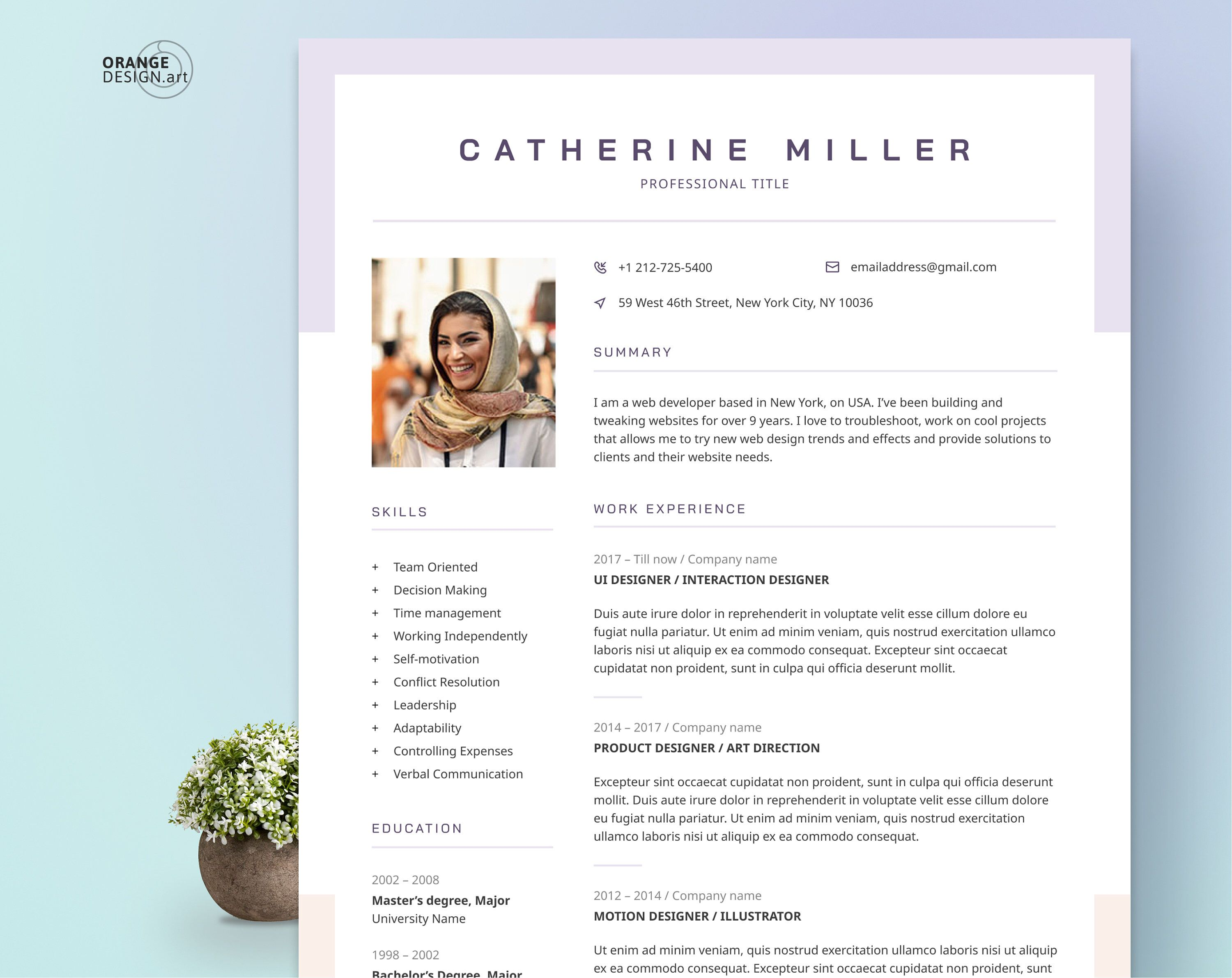 Creative Resume Template With Photo Cv Template For Word Two Etsy Creative Resume Templates Creative Resume Resume Design Creative