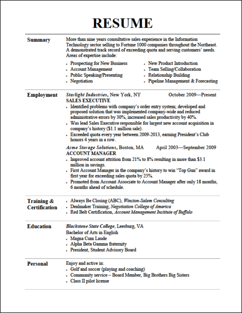 How To Write A Resume In English Example
