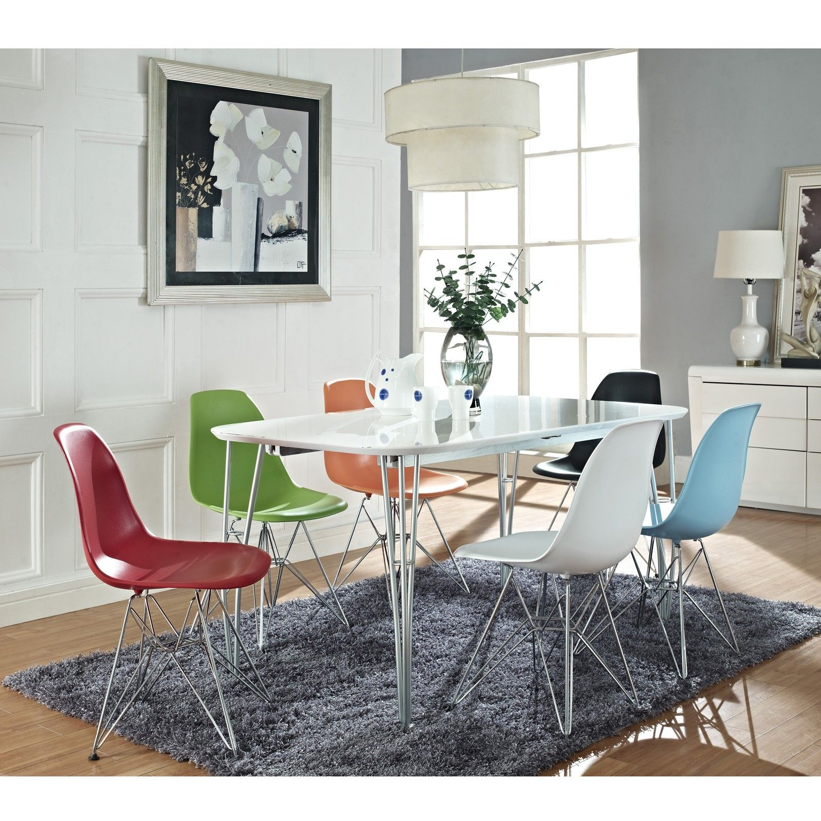 Eames molded plastic chair dining room - Eames Inspired Eiffel Dining Chairs All White Or Orange