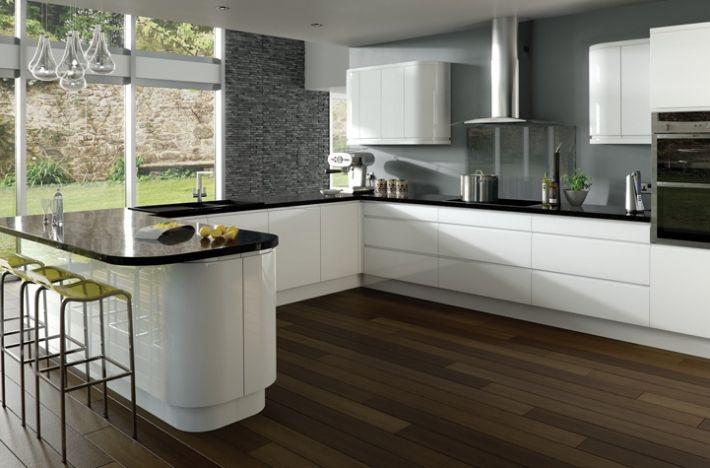 white gloss kitchen with black worktops