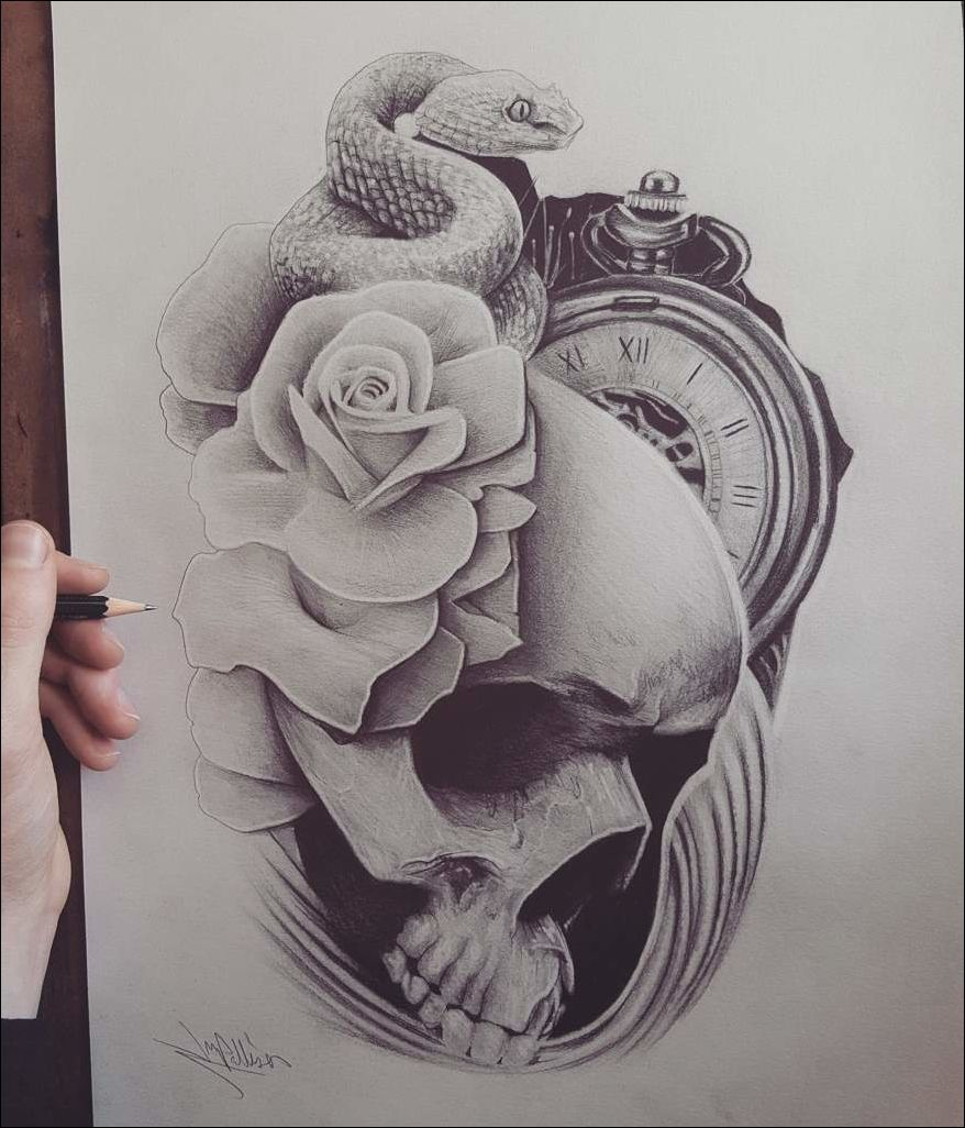 Black and grey tattoo design with images black and