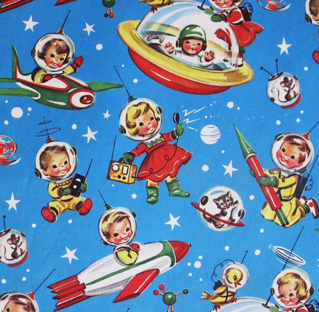 Vintage Gift Wrap Space Kids | Vintage gifts, Retro christmas and ...