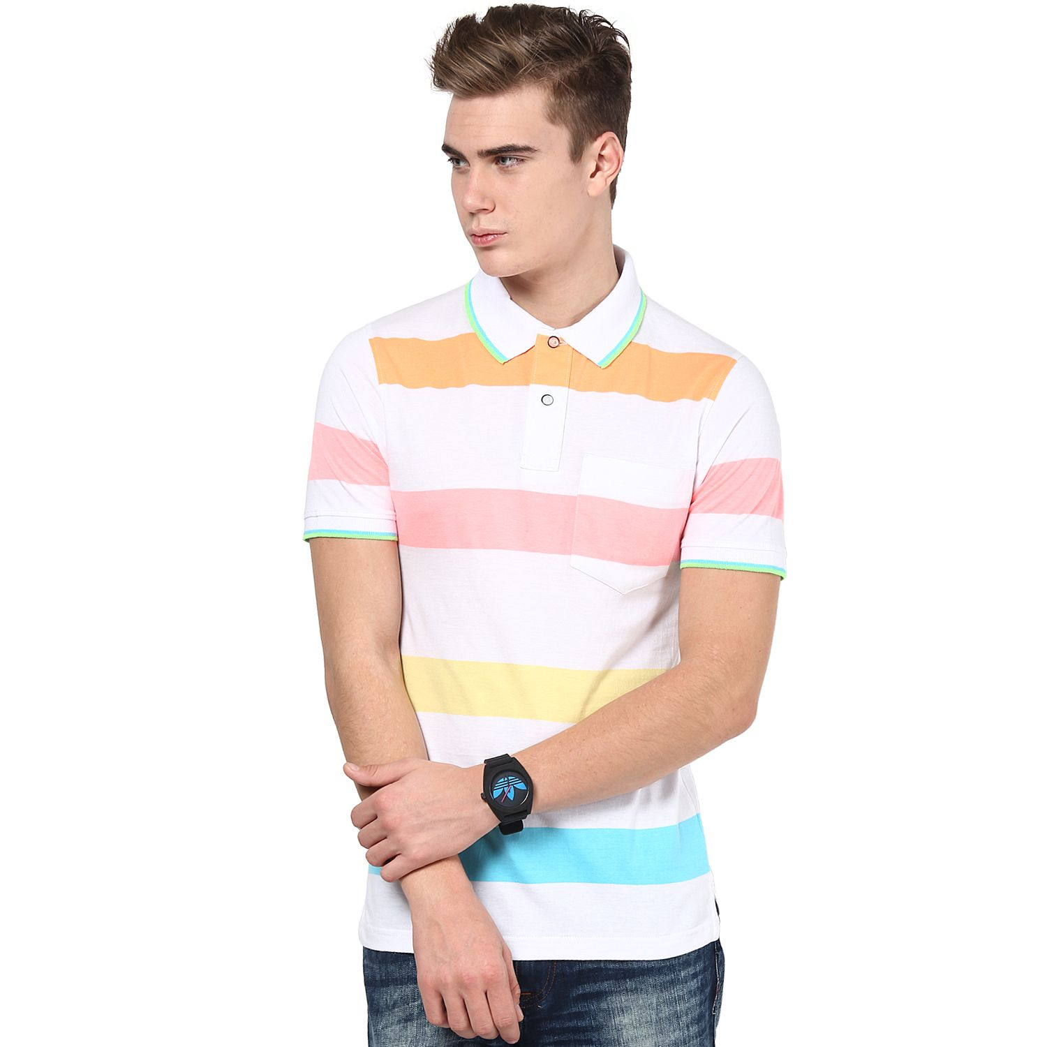 a1f201af2 Cool and Light Shade Multi-Color Stripe MUDO Polo T-Shirt for Men ...