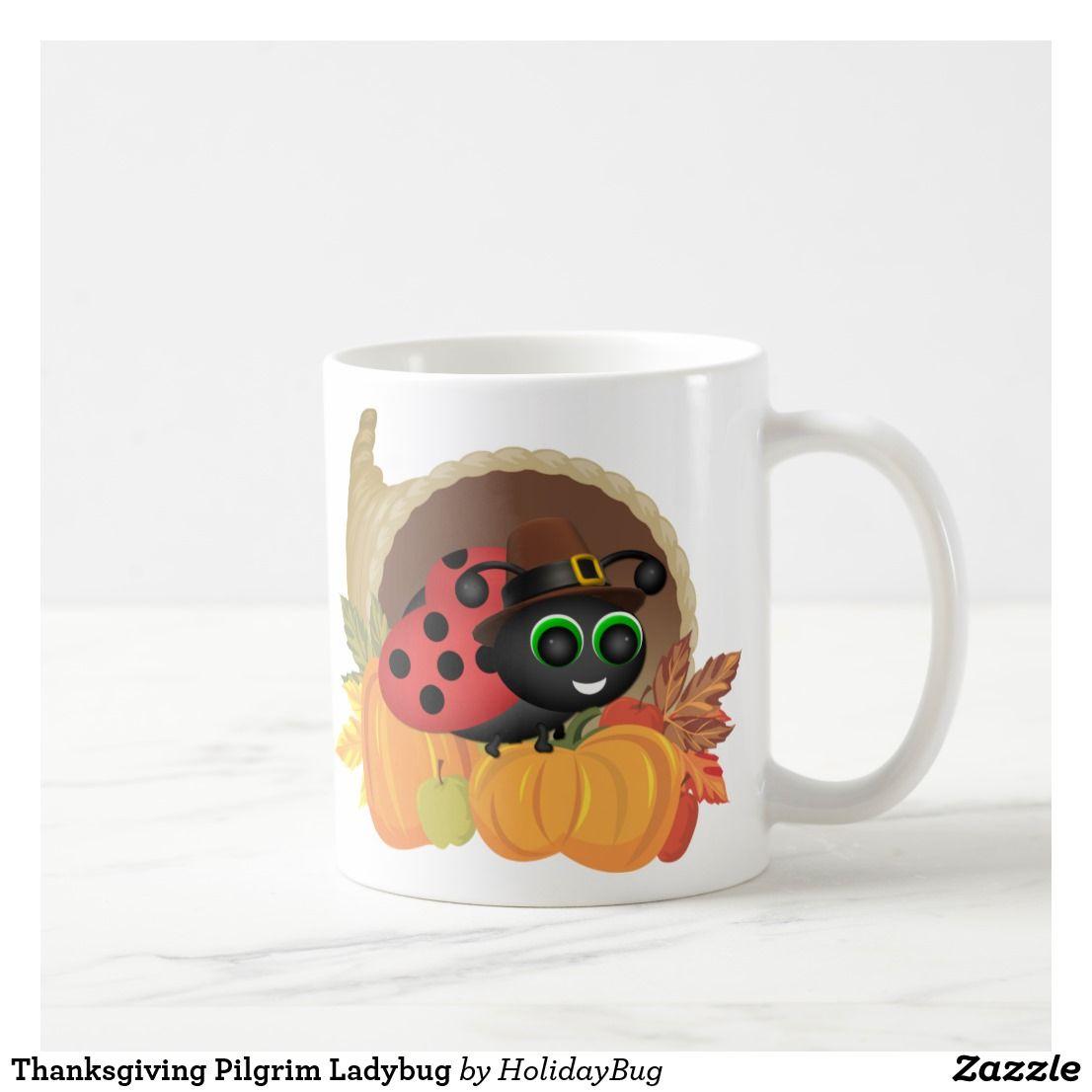 Thanksgiving Pilgrim Ladybug Coffee Mug