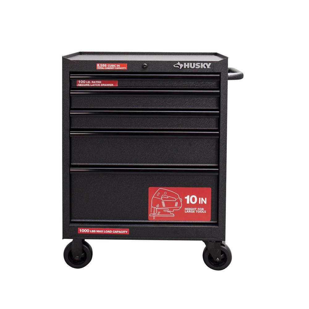 Husky 27 In W 5 Drawer Rolling Cabinet Tool Box Chest In Textured Black Uat H 26051 The Home Depot Tool Chest Tool Cabinet Husky Tool Box