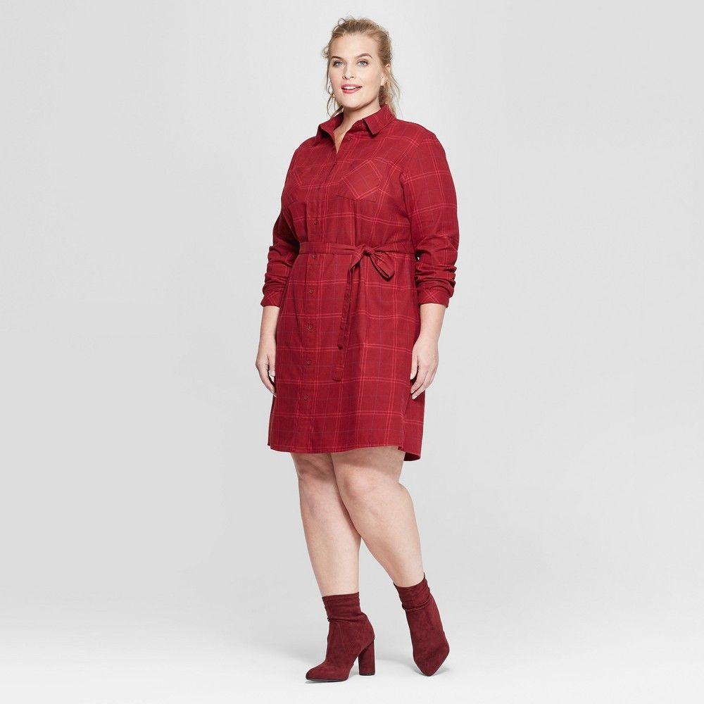 c69c230267e Women's Plus Size Plaid Flannel Shirt Dress - Ava & Viv Red 4X in ...
