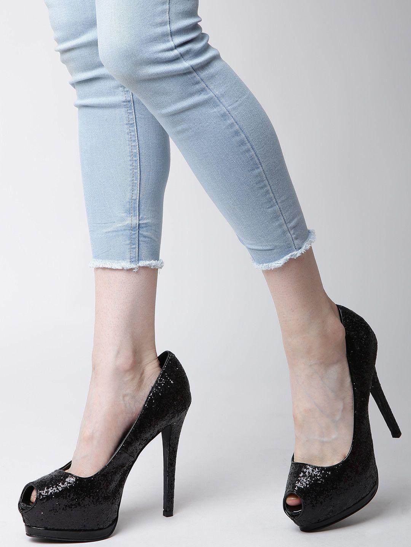 Buy Qupid Women Black Peep-Toed Shimmer 6 Inch Platforms Heels online in  India at best price. A pair of peep-toed black platforms Syntheticupper  with ...