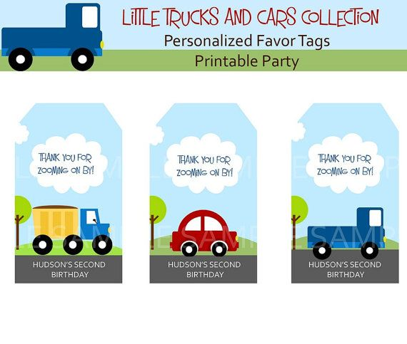 LITTLE CARS and TRUCKS Birthday party Favor by littlebirdieprints