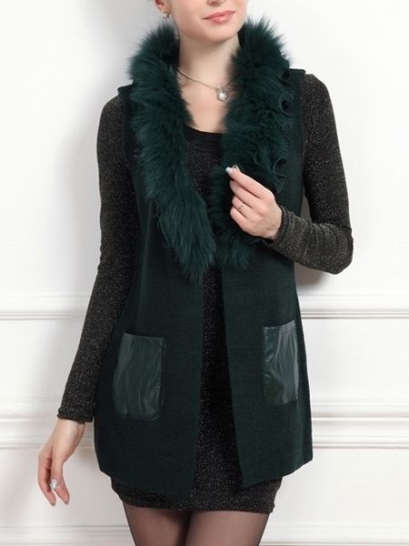 Faux Fur Collar Patchwork Chic Plain Waistcoat Only $45.95 USD More info...