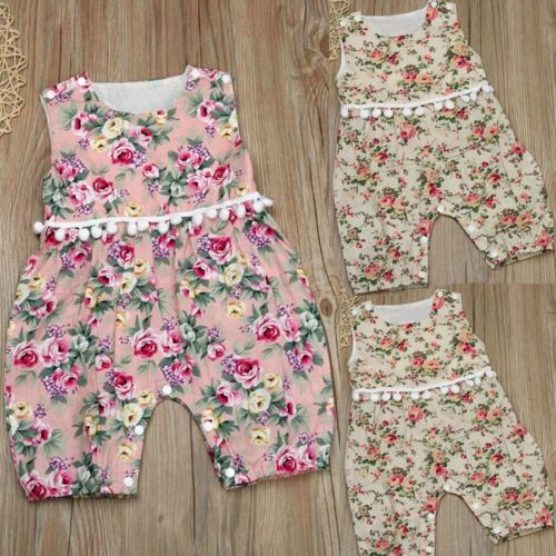 Summer Toddler Baby Girl Floral Print Romper Jumpsuit Clothes Outfit Sunsuit New