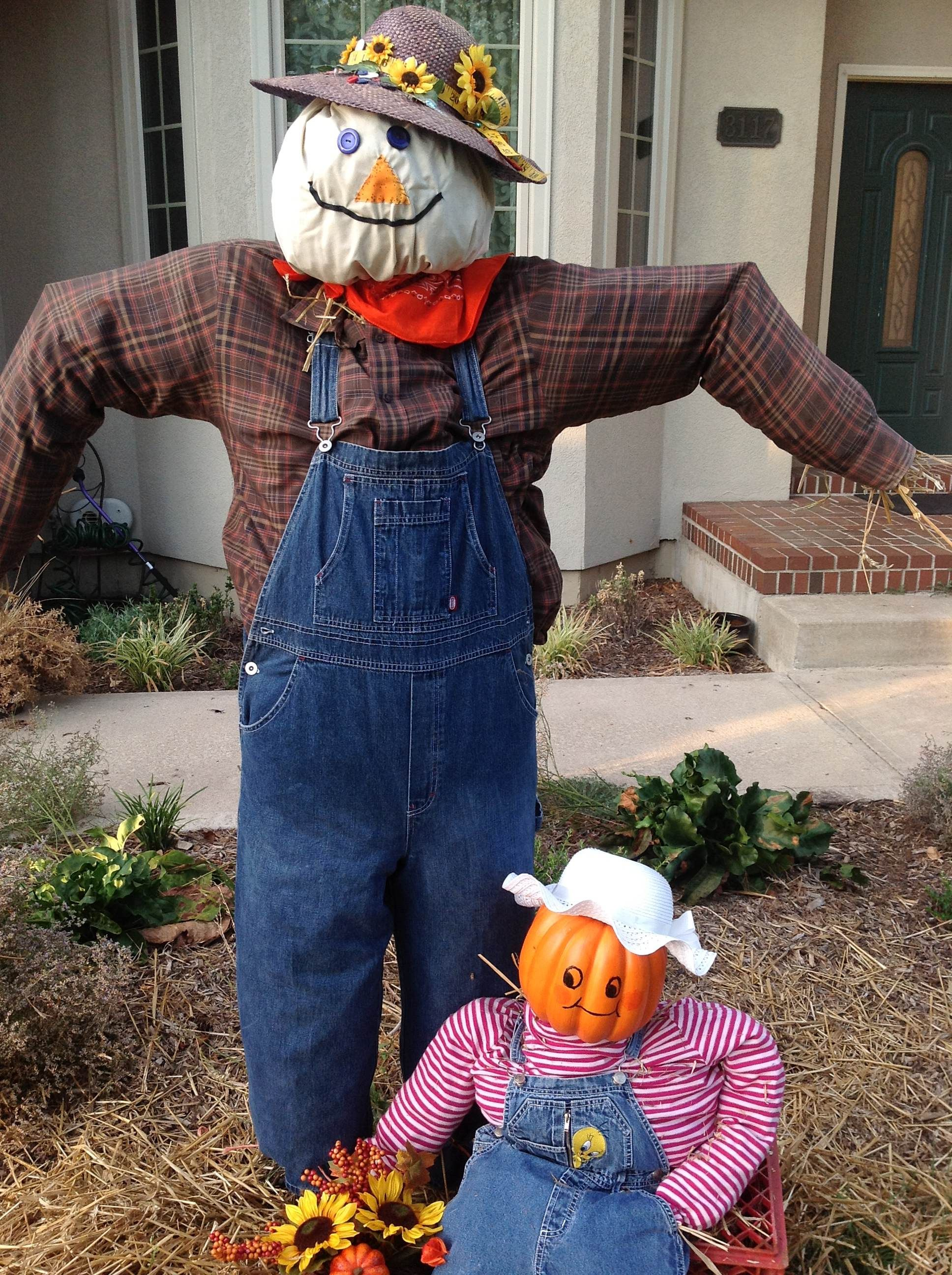 friendly homemade scarecrow for kid friendly halloween decor