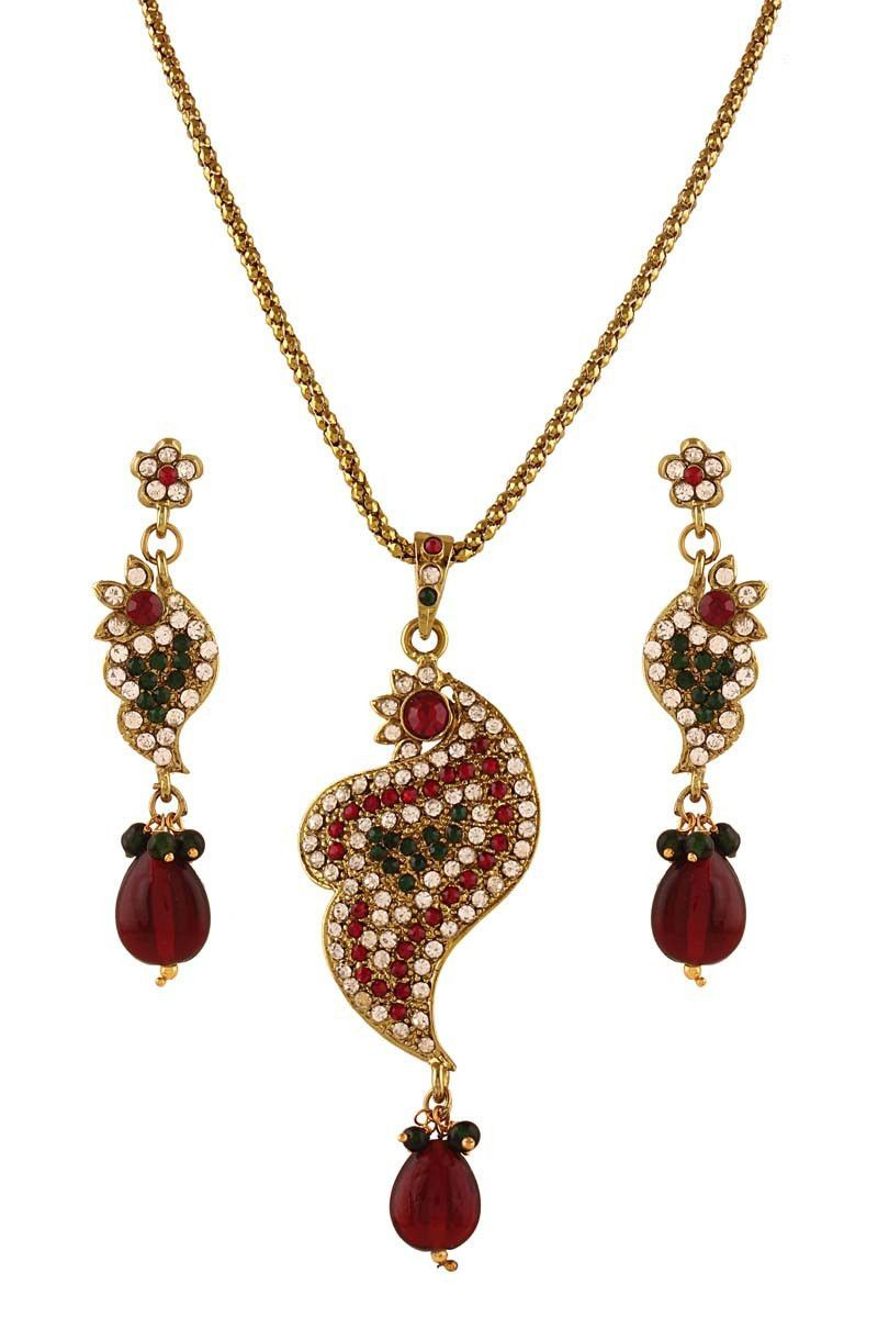 Maroon gold plated austrian diamond pendant set products