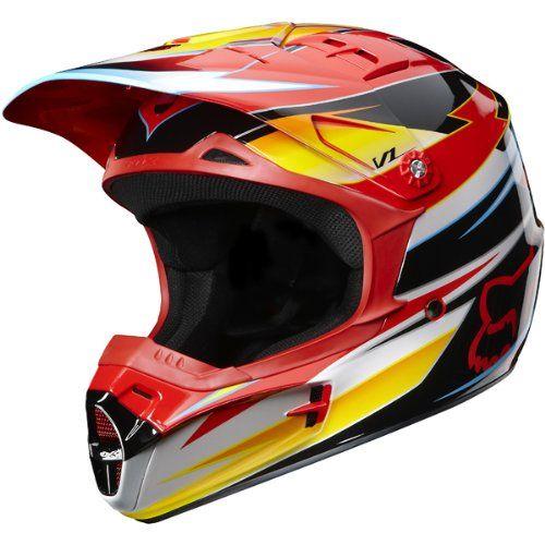 Fox Racing Race Men S V1 Mx Off Road Dirt Bike Motorcycle Helmet Red Yellow X Large Motorcycle Helmets Helmet Dirt Bike