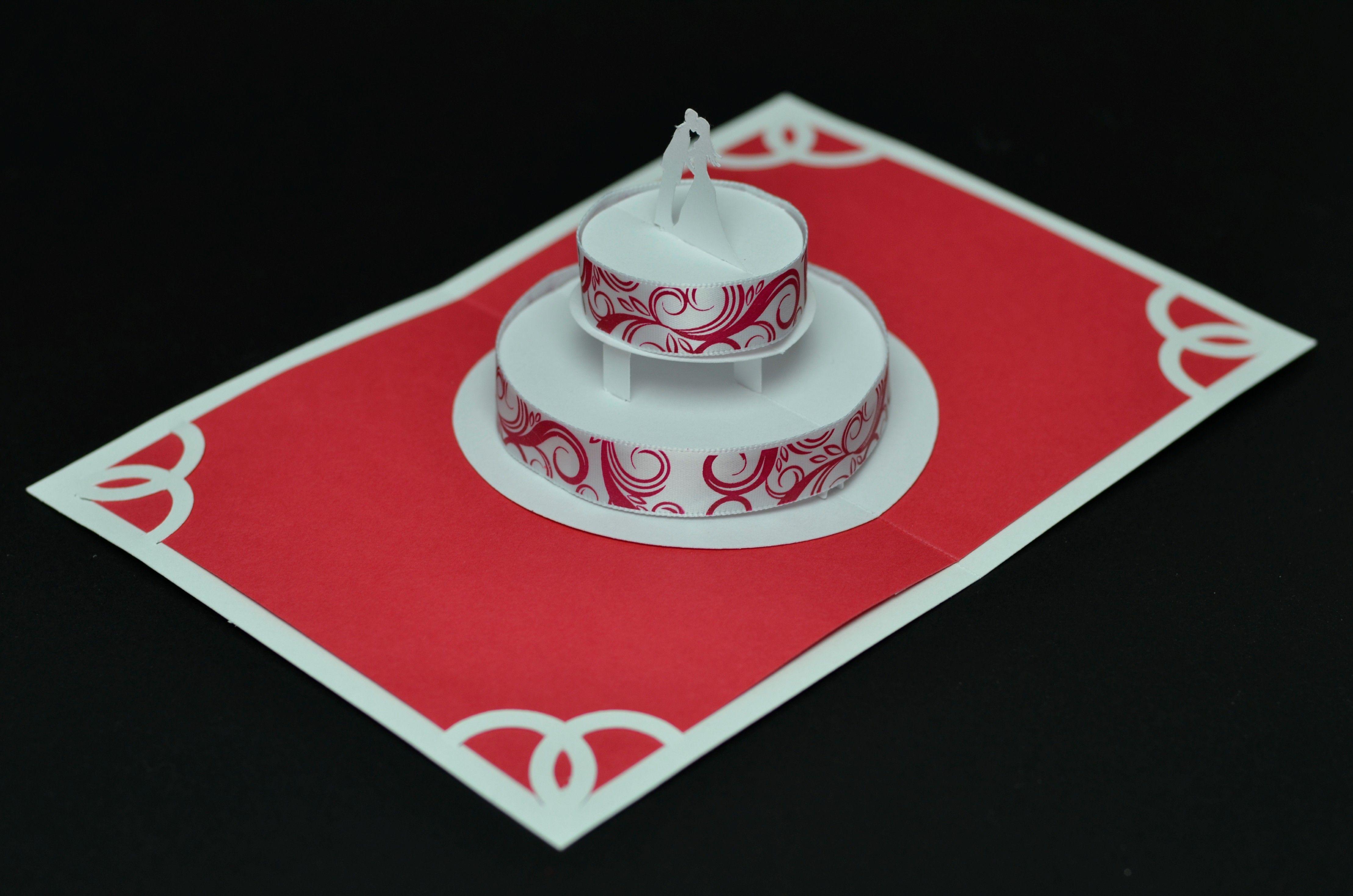 Red Wedding Cake Pop Up Card Creative Cards Cakepins
