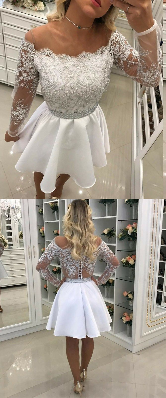 9bf7593c6d05 A-Line Off the Shoulder Long Sleeves White Satin Short Homecoming ...