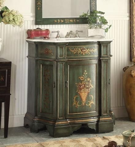 35 Benton Collection Hand Painted Floral Design Crossfield Bathroom Sink Vanity Hf090g Shabby Chic Bathroom French Country Bathroom Vintage Bathrooms