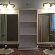 Amazing Idea Turn A Huge Builder S Grade Bathroom Mirror Into Two Mirrors With Cabinet
