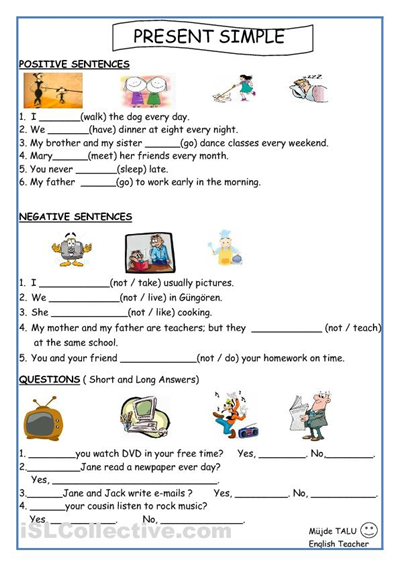 present simple for kids worksheets printable - Kids Worksheets Printable