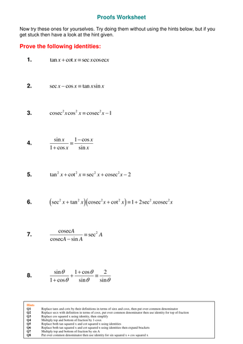 A Level Maths Reciprocal Trig Functions Worksheet Teaching