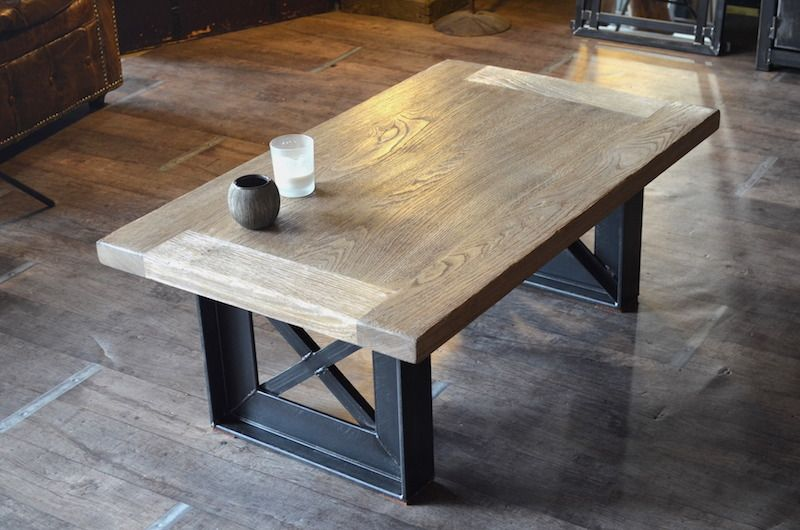 Table basse bois blanchi acier style industriel sur mesure for Table bois metal design