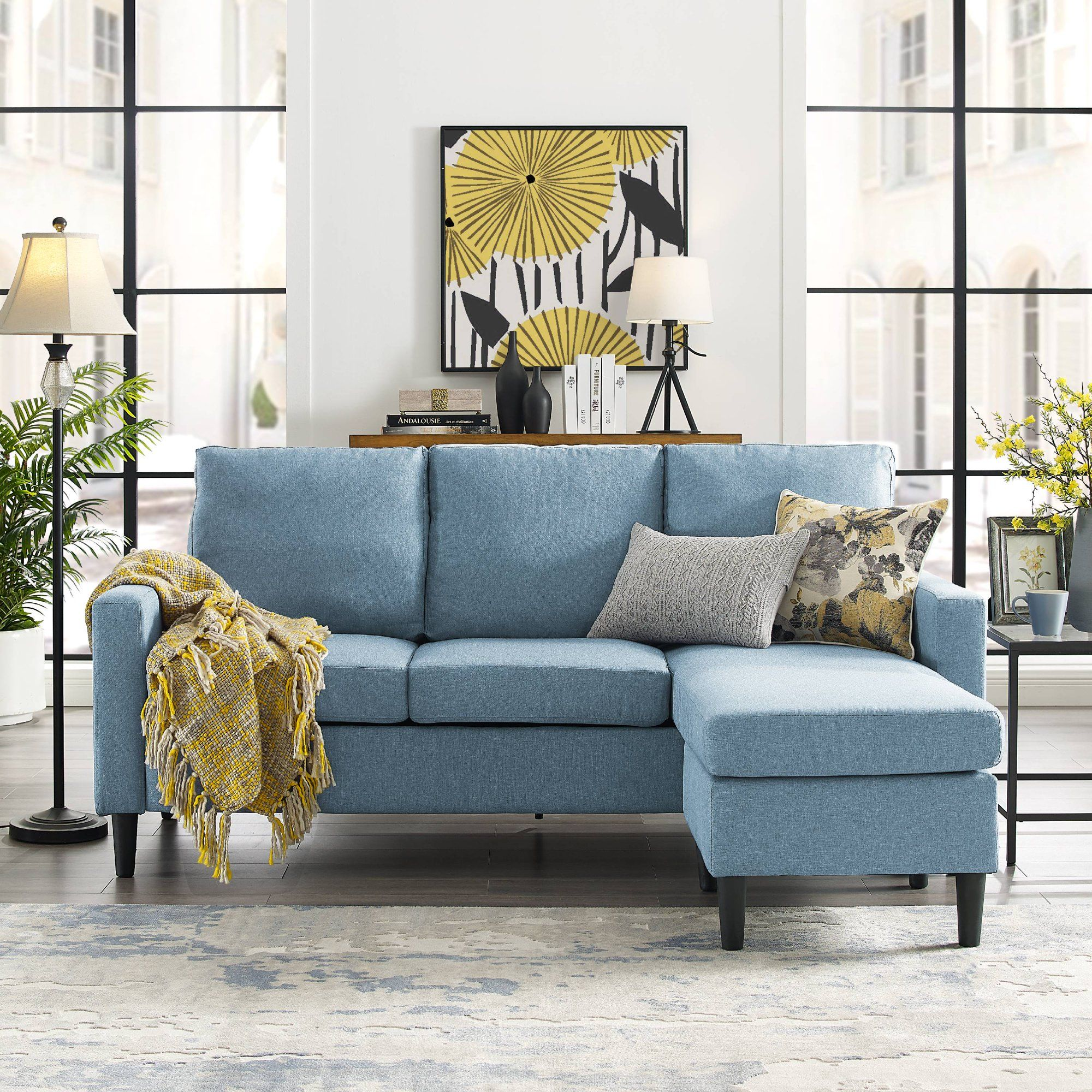 Mainstays Upholstered Apartment Reversible Sectional Multiple Colors Walmart Com Light Blue Couches Sectional Upholster