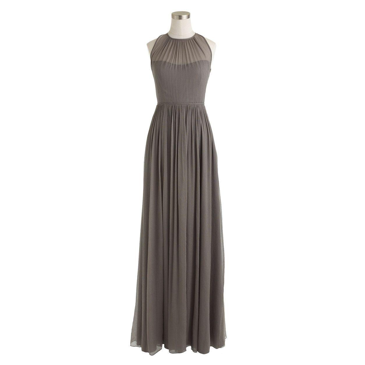 Megan long dress in silk chiffon silk chiffon jcrew dresses