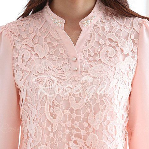 Refreshing Stand Collar Pink Lace Splicing Chiffon Long Sleeve Blouse For Women - PINK XL Mobile