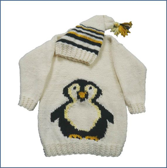 Penguin Childs Sweater And Hat Aran Knitting By Iknitdesigns