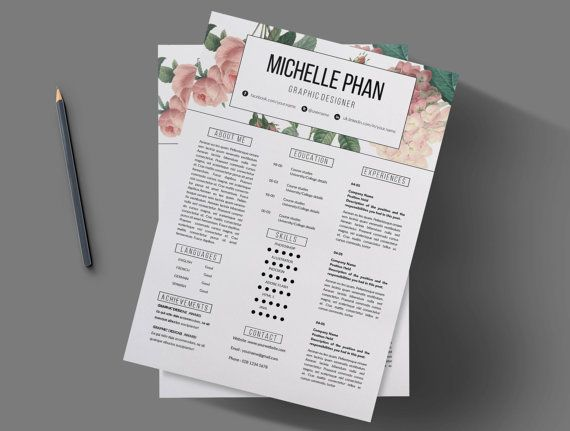 creative cv template  pastel floral background     cover letter    resume template    elegant cv