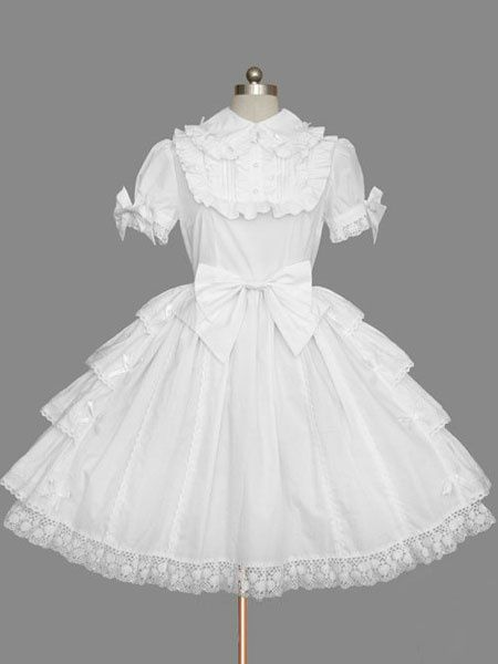 White Bows Cotton Lolita One-Piece for Girls