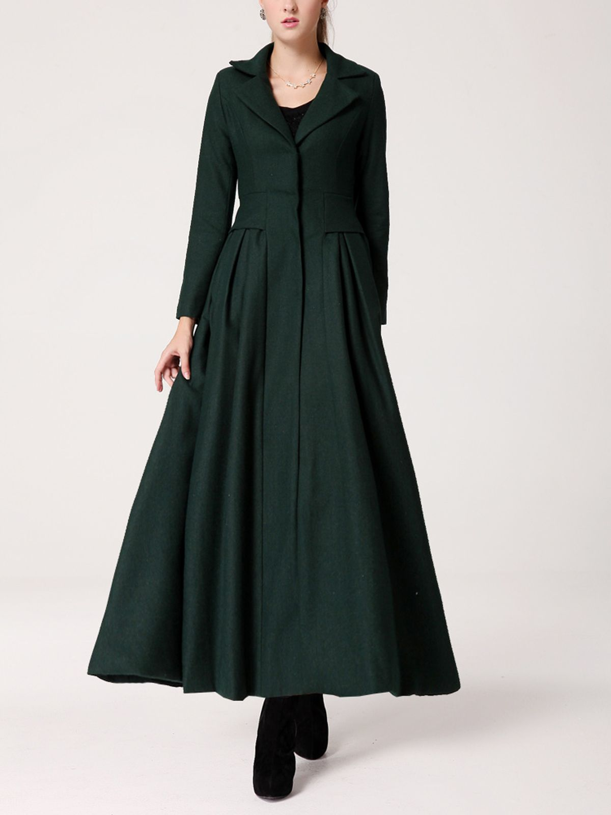 Details About New Womens Long Vintage Ankle Dress Military