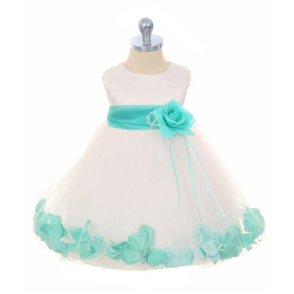 Kidus dream girls ivory u mint satin flower petal dress with tulle
