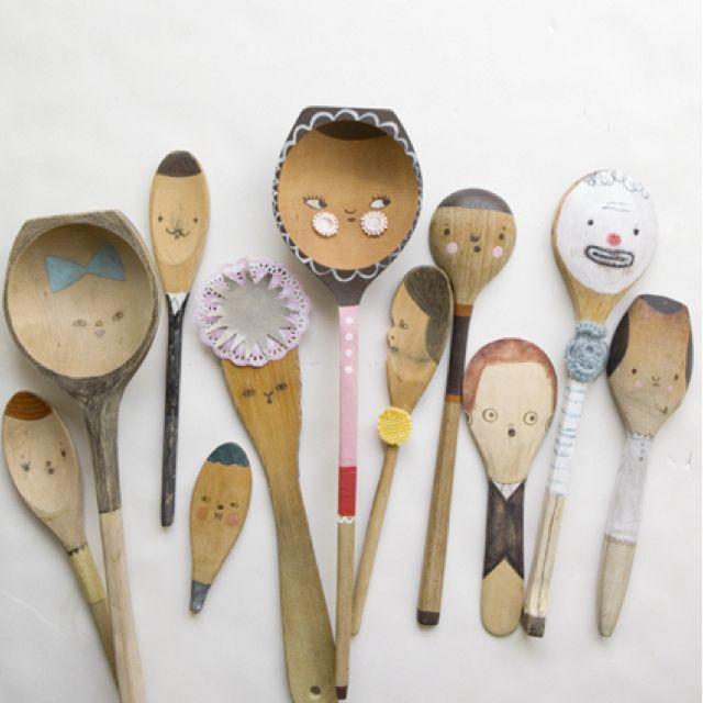 KITCHENS. Painted Wooden Spoon People. Via Finelittleday