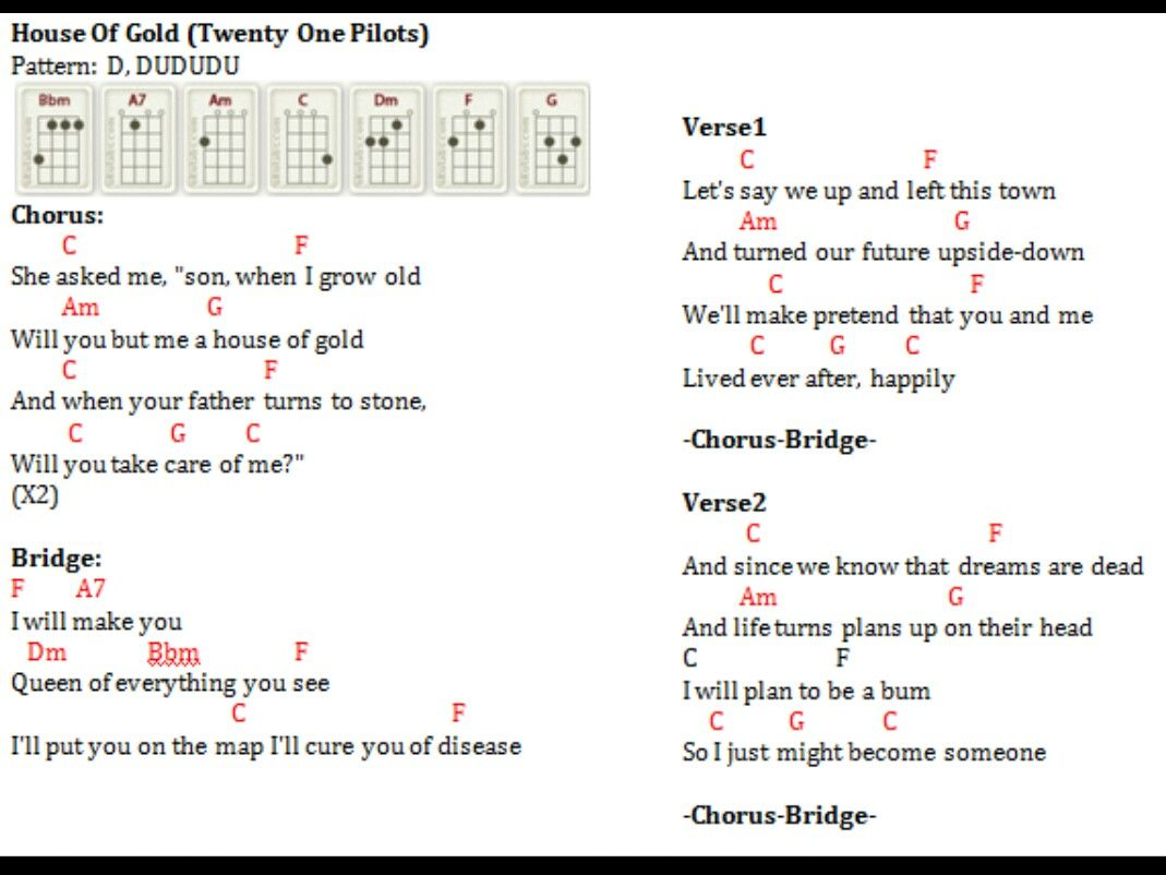 House Of Gold Chords Ukulele   Sheet and Chords Collection