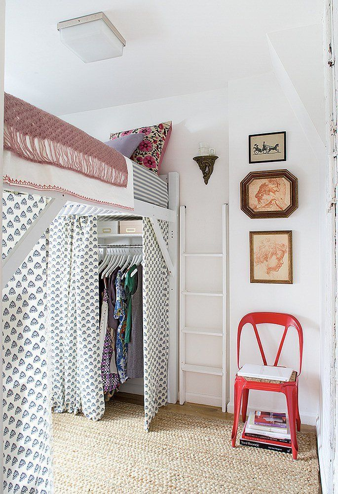 Make The Most Of A Small Dorm Room By Using Curtains Other Places Than Windows