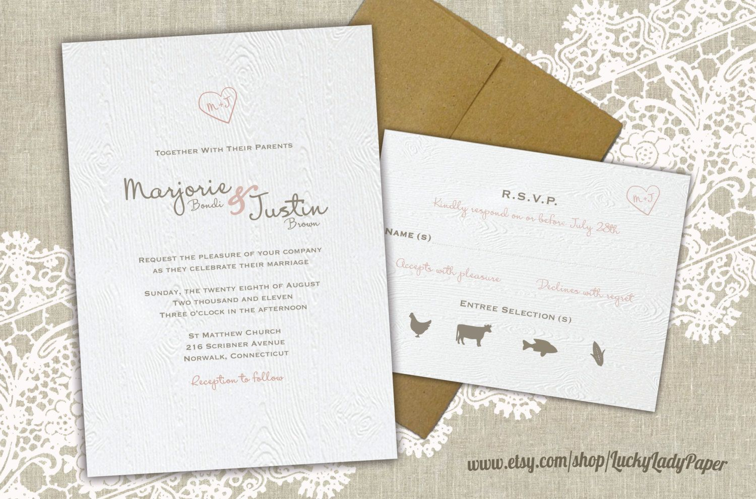 wedding invitation wording vegetarian option%0A Carved Initials Heart and Faux Bois  Woodgrain pattern  Woodland Wedding  Invitation Set by Luckyladypaper