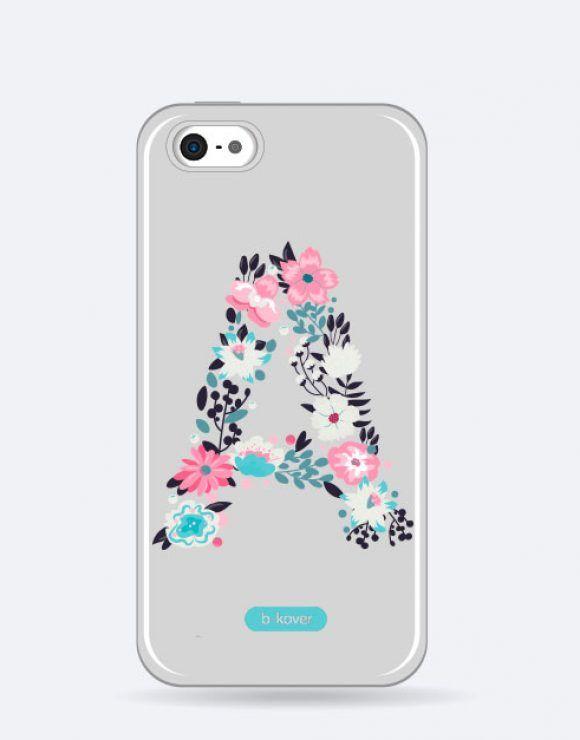 324bef8f664 Funda móvil transparente personalizada inicial flores | Fundas ...
