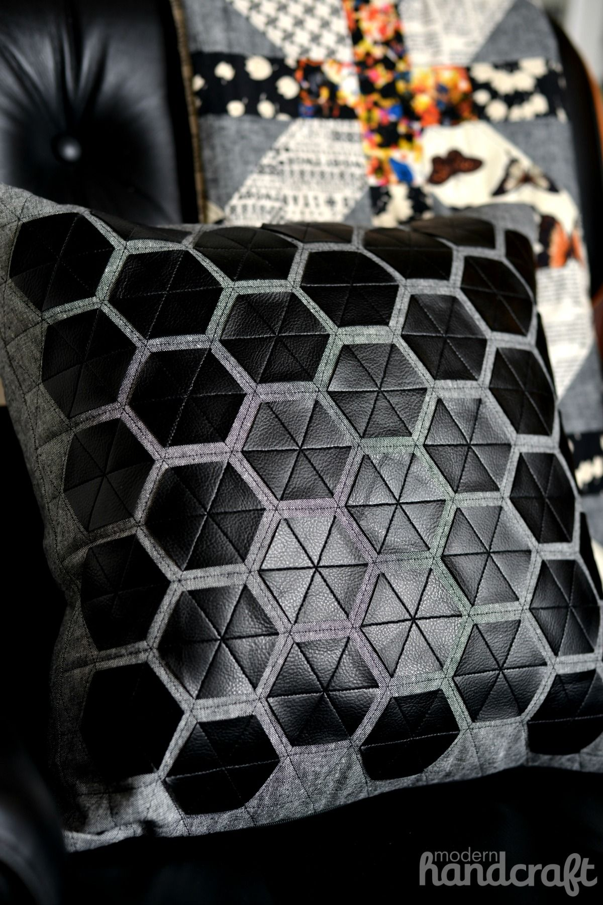 modern hexies pleather applique pillow using sizzix by modern handcraft http. Black Bedroom Furniture Sets. Home Design Ideas