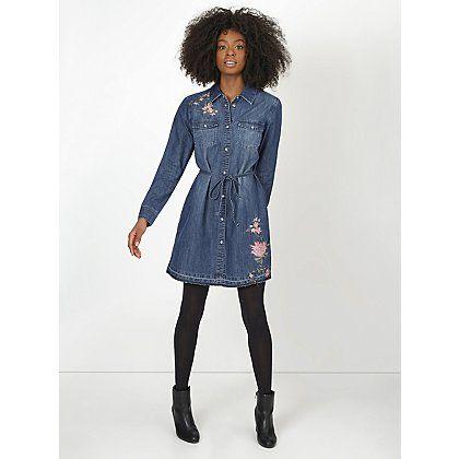 Embroidered Denim Shirt Dress | Women | George at ASDA | Clothes ...