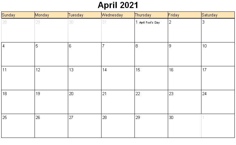 Free Printable April 2021 Calendar Monthly Template In 2020