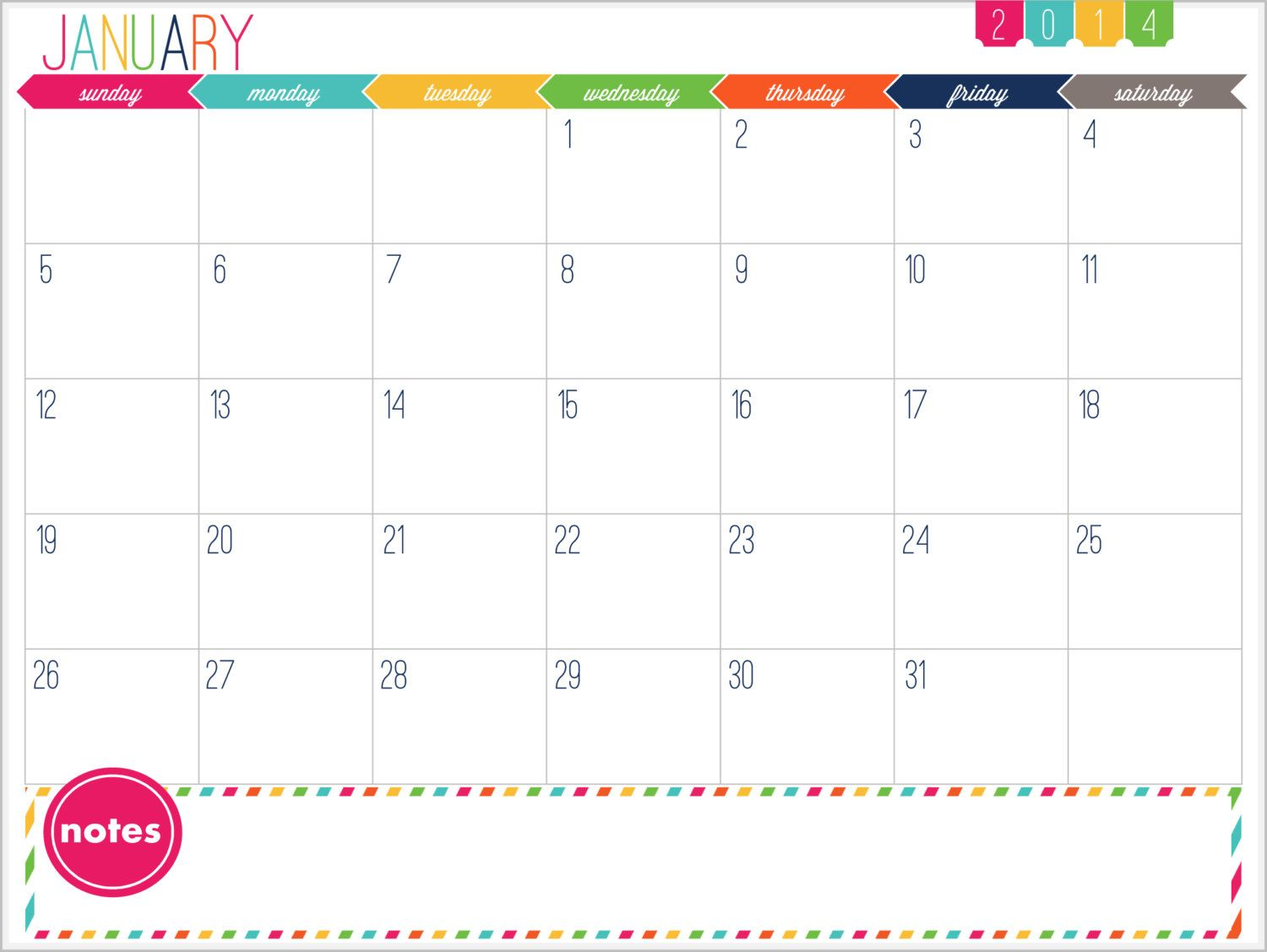 12 Month Calendar Printable Prefilled for by