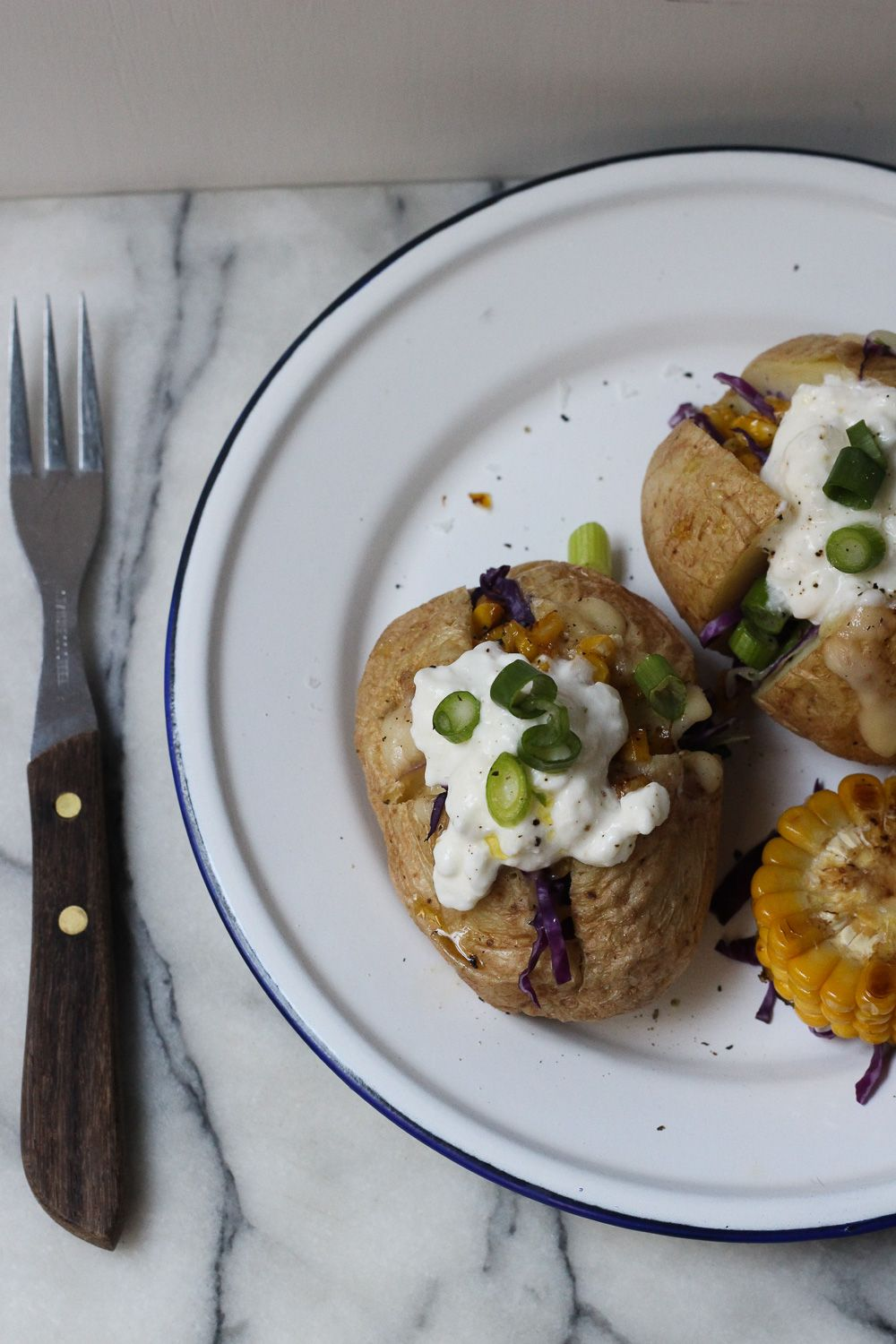 Fantastic Microwave Baked Potato With Corn Cabbage And Cottage Cheese Interior Design Ideas Gentotryabchikinfo